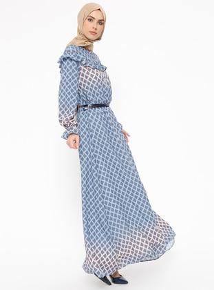 Indigo - Multi - Crew neck - Fully Lined - Dresses