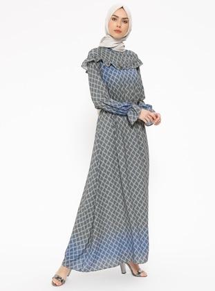 Khaki - Multi - Crew neck - Fully Lined - Dresses