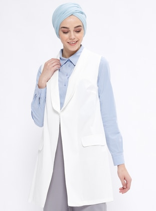White - Unlined - Shawl Collar - Vest