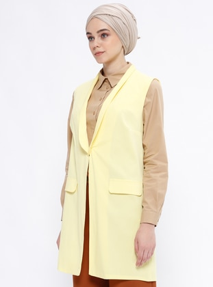 Yellow - Unlined - Shawl Collar - Vest