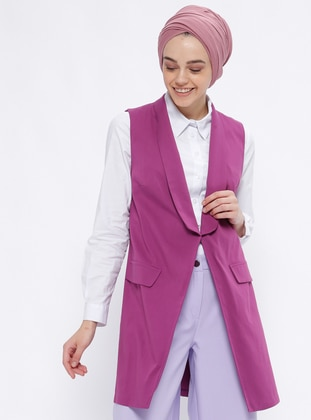 Purple - Unlined - Shawl Collar - Vest