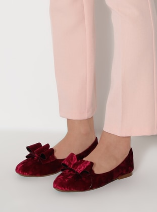 Maroon - Flat - Flat Shoes