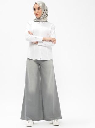 Gray - Denim - Pants