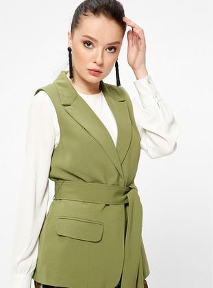 Green - Fully Lined - Shawl Collar - Vest