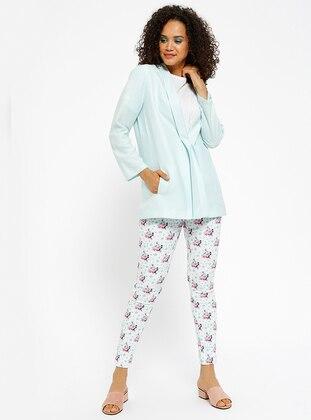 Çiçekli Pantolon - Pembe Ekru - Koton Ürün Resmi