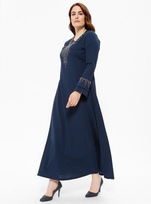 Drop Baskılı Elbise - Açık Lacivert - Metex Ürün Resmi