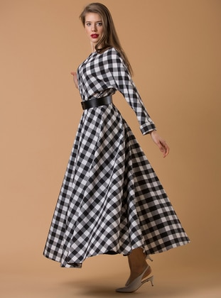 Black - White - Plaid - Crew neck - Fully Lined - Dresses