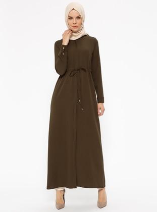 Khaki - Unlined - Button Collar - Abaya