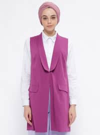 Purple - Unlined - Shawl Collar - Vest