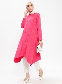 Pink - Fuchsia - Polka Dot - Crew neck - Tunic