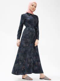 Navy Blue - Multi - Point Collar - Unlined - Dresses