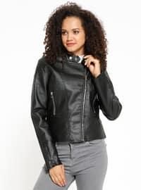 Deri Ceket - Siyah - Koton