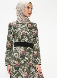 Khaki - Multi - Crew neck - Unlined - Dresses