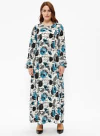 Blue - Multi - Unlined - Crew neck - Plus Size Dress