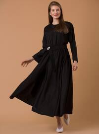 Kemer Detaylı Elbise - Siyah - JAQAR
