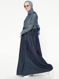 Navy Blue - Shawl Collar - Unlined - Dresses