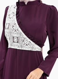 Purple - Crew neck - Fully Lined - Dresses
