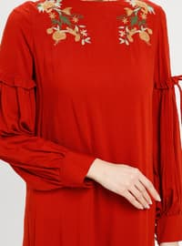 Red - Crew neck - Unlined - Dress - BAGİZA