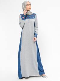 Navy Blue - Gray - Crew neck - Unlined - Dresses
