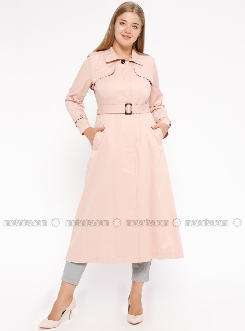Powder - Unlined - Point Collar - Plus Size Trench coat
