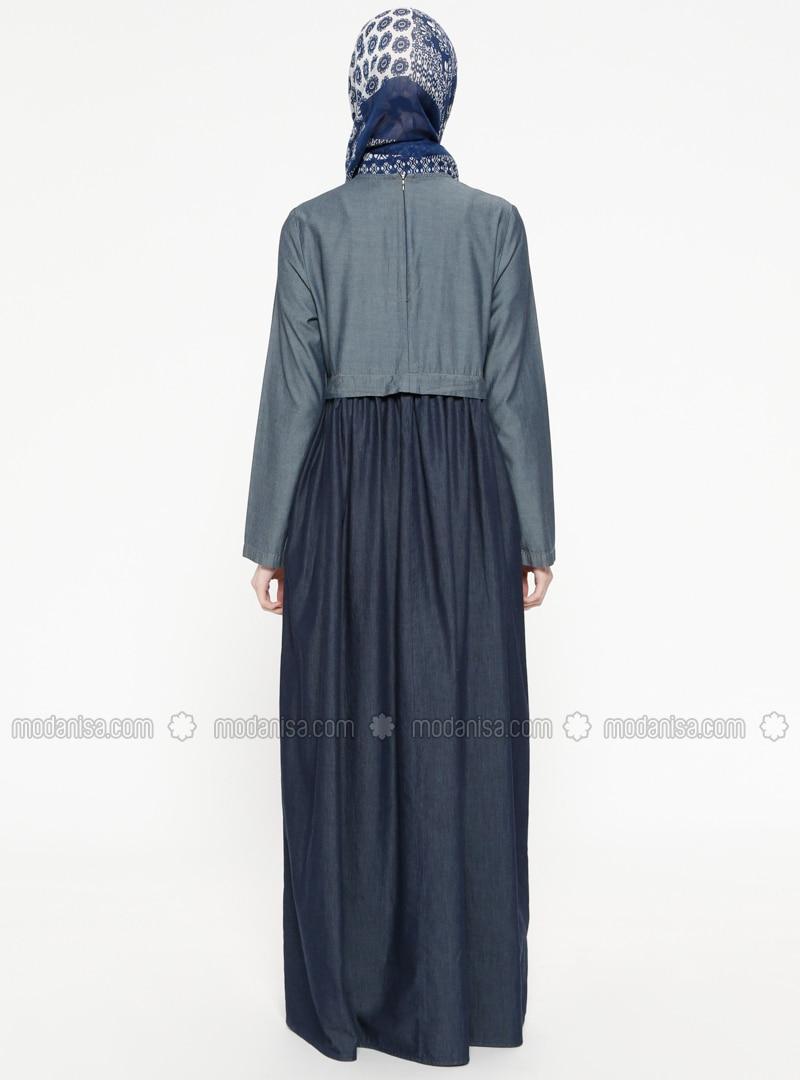 Navy Blue Shawl Collar Unlined Dresses