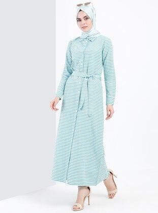 Çizgili Elbise - Yeşil - Refka Ürün Resmi