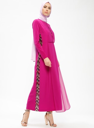 Pink - Fuchsia - Crew neck - Fully Lined - Dresses