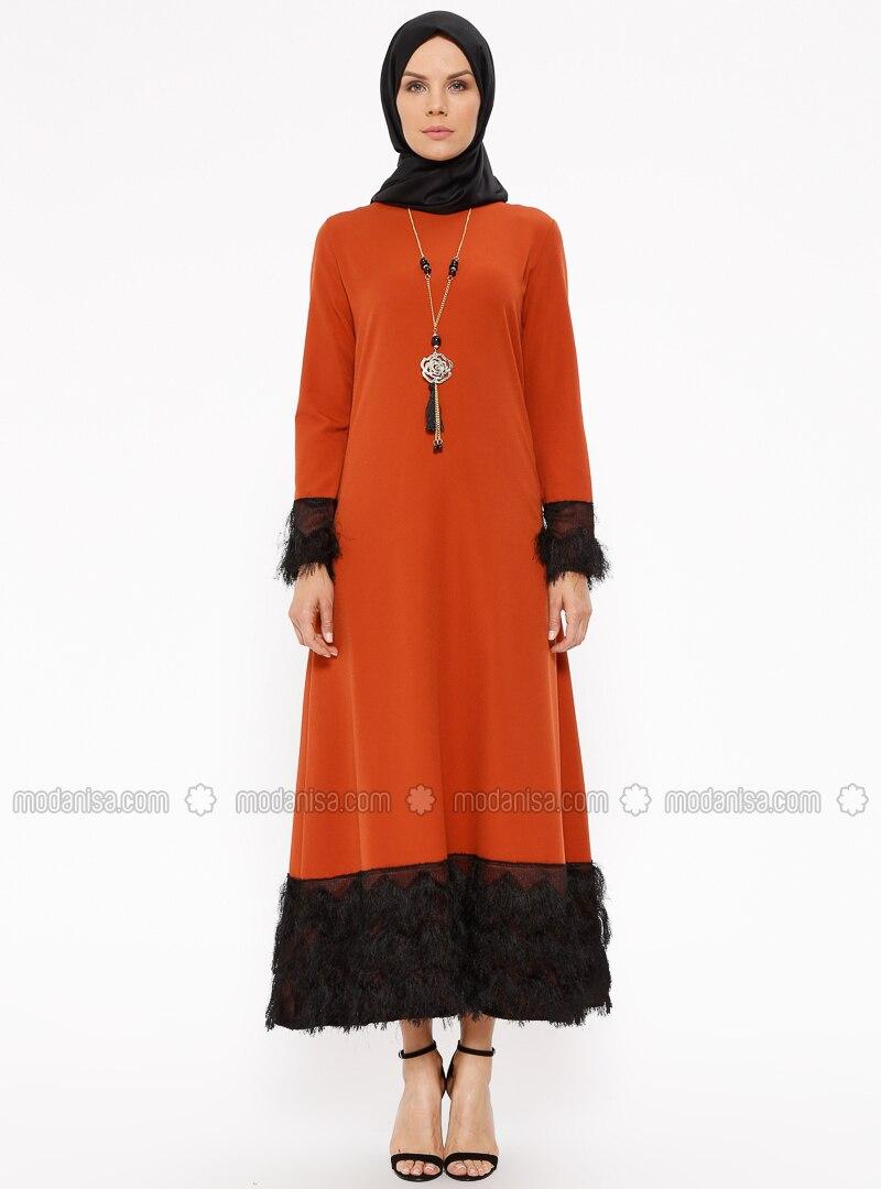 Orange - Crew neck - Unlined - Dresses