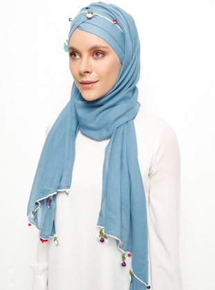 Blue - Plain - Cotton - Instant Scarf