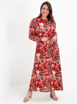 Doğal Kumaşlı Çiçek Desenli Elbise - Bordo - Alia Ürün Resmi