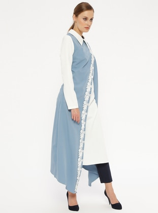 White - Indigo - Point Collar - Tunic