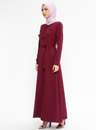 İnci Süslemeli Elbise - Mürdüm - Jamila Ürün Resmi