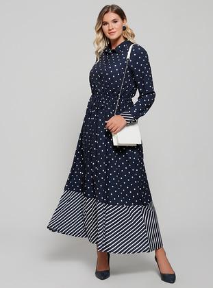 Navy Blue Polka Dot Stripe Unlined Point Collar Plus Size