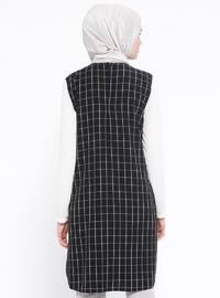 Black - Ecru - Checkered - Crew neck - Tunic