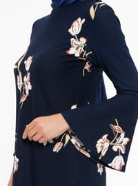 Navy Blue - Salmon - Floral - Crew neck - Tunic