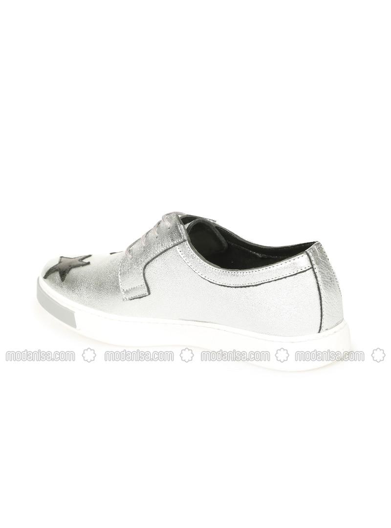 a84499f1c6af6 Hakiki Deri Spor Ayakkabı - Gümüş - Pıxy