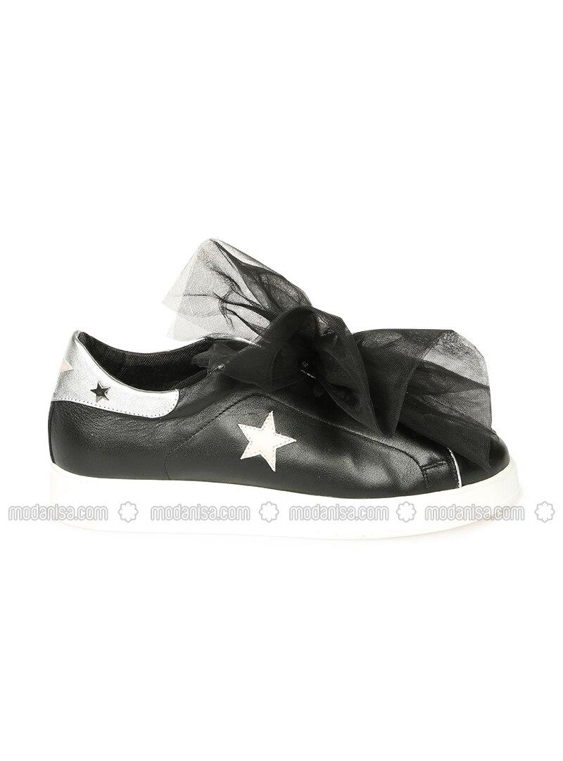 c5f10bd5f5e0b Hakiki Deri Spor Ayakkabı - Siyah Gümüş - Pıxy