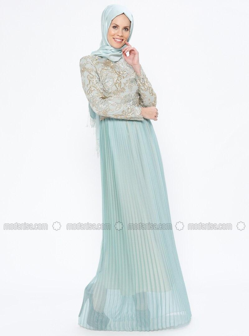 c17c1f365b7 Green - Mint - Fully Lined - Muslim Evening Dress