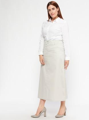 Ecru - Unlined - Plus Size Skirt