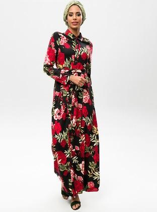 Black - Floral - Point Collar - Dresses
