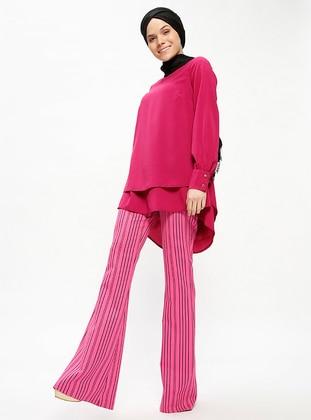Pink - Fuchsia - Stripe - Pants