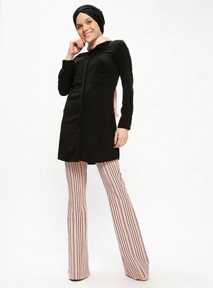 Çizgili Pantolon - Pudra - Appleline Ürün Resmi