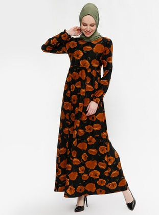 Tan - Floral - Crew neck - Unlined - Dresses