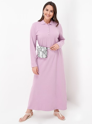 Dusty Rose Unlined Point Collar Cotton Plus Size Dress