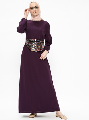 Purple - Crew neck - Unlined - Dresses - Dadali 443364