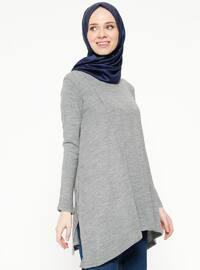 Salaş Triko Kazak - Gri - Seyhan Fashion