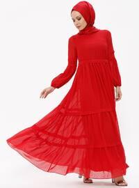 Şifon Elbise - Kırmızı - Puane
