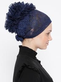 Navy Blue - Lace up - Lace - Bonnet