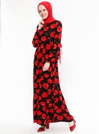 Maroon - Floral - Crew neck - Unlined - Dresses - ZENANE
