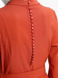 Tan - Crew neck - Half Lined - Dresses